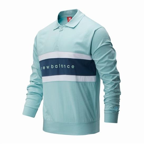 (NB公式アウトレット)【50%OFF】 メンズ NBアスレチックスプレップラグビーシャツ (ブルー) ライフスタイル ウェア / トップス ニューバランス newbalance セール